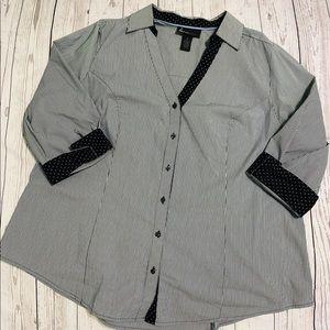 Lane Bryant 3/4 Sleeve Stripe Button Up